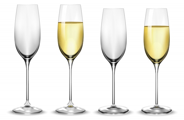 Full and empty white champagne glasses.