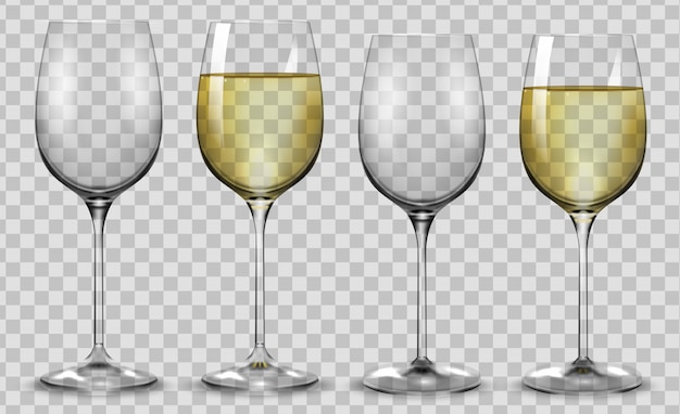 Full and empty white wine glasses.
