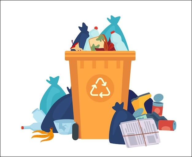 가득 찬 쓰레기통. 비닐 봉지와 쓰레기가 넘쳐나는 재활용 용기. 벡터 재활용은 플라스틱 폐기물 더미와 함께 할 수 있습니다. 거리 덤프 오염, 빈 컨테이너 더미, 쓰레기통 바구니 그림