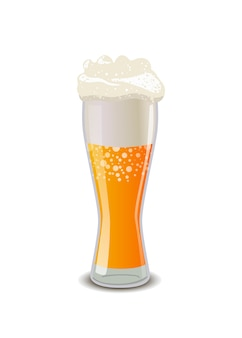 Full glass of light beer
