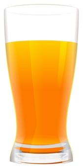 フレッシュオレンジジュースのフルグラス。白いイラストで隔離