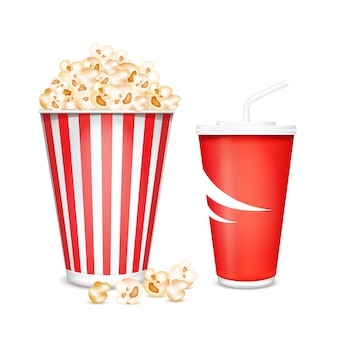Full glass with drink and popcorn illustration isolated on white background