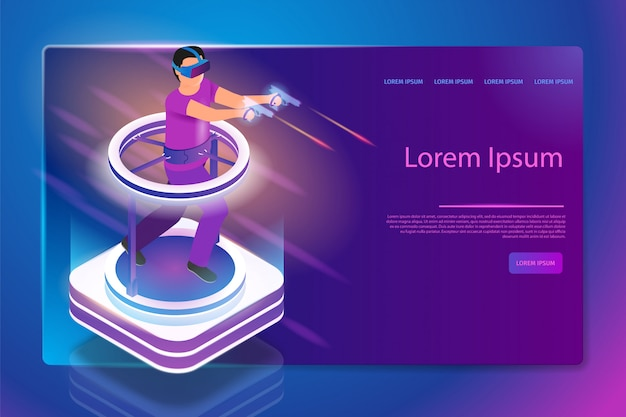 Full immersion in 3d gaming vector web banner