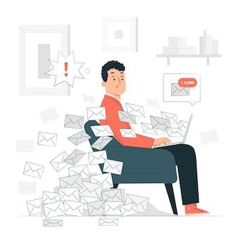 Illustrazione di concetto di casella di posta completa