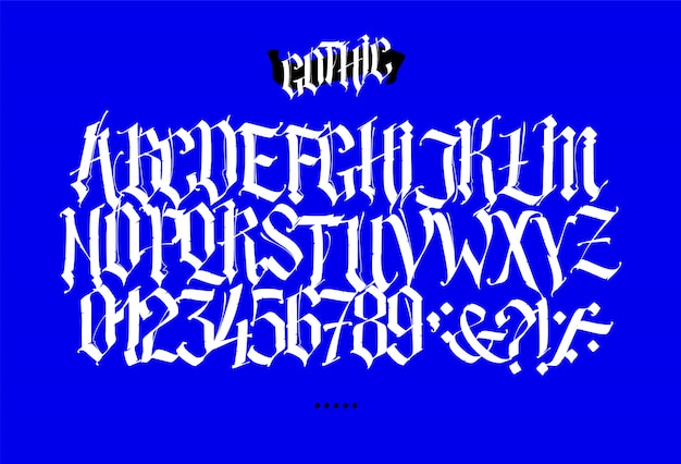 Full latin alphabet in the gothic style.
