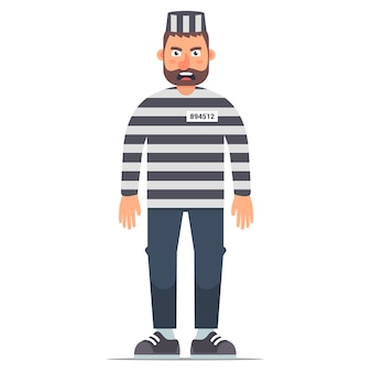 Full-length isolated prisoner in striped clothing on a white background. flat  illustration of character in prison.
