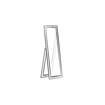 Полная длина зеркало рисованной наброски каракули значок. поворотное зеркало на подставке вектор эскиз иллюстрации для печати, интернета, мобильных устройств и инфографики, изолированные на белом фоне.