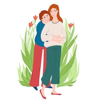 사랑, 어머니와 딸과 함께 그녀의 성인 딸을 껴안고 수석 여자의 전체 길이 초상화