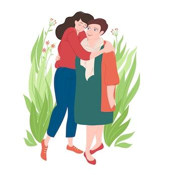 사랑, 어머니와 딸과 함께 그녀의 엄마를 포옹하는 젊은 여자의 전체 길이 초상화