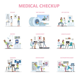 Full medical checkup set with female patient and doctors. idea of healthcare. ophthalmologist and dentist, surgeon and mri. isolated vector flat illustration
