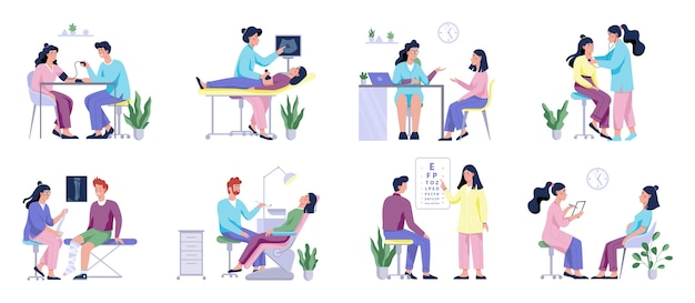 Full medical checkup set with patient and doctors. idea of healthcare. ophthalmologist and dentist, surgeon and ultrasound.   illustration
