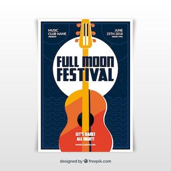 Full moom music festival poster template