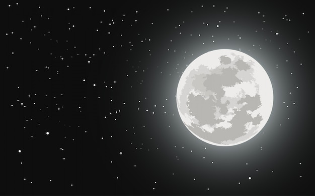 満月と星空