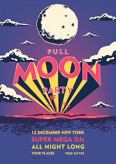 Full moon beach party poster. summer event, festival vector design illustration.