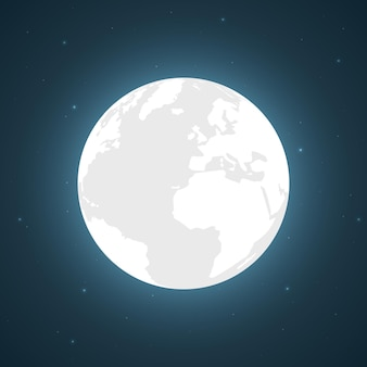 Full moon and bright stars, vector illustration.