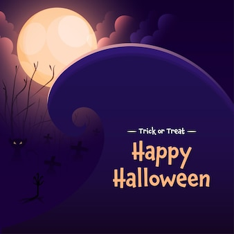Full moon cemetery large wave background with scary cats for trick or treat happy halloween.