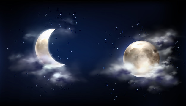 Full moon and crescent in night sky with clouds