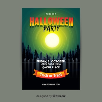 Full moon above forest flat halloween flyer