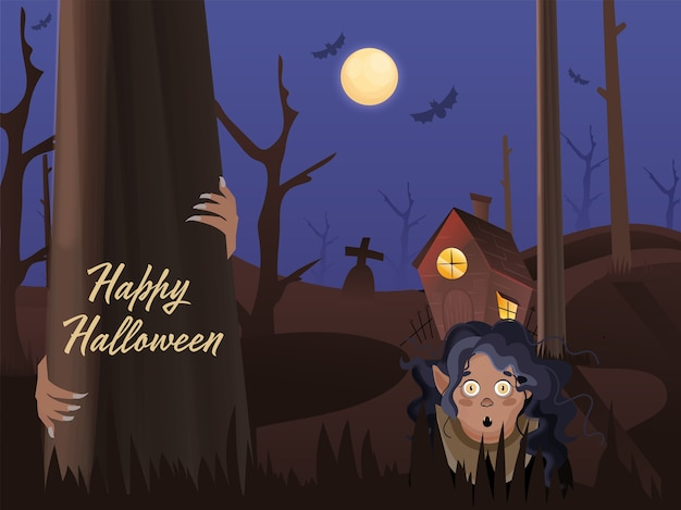 Full moon graveyard background with haunted house and cartoon witch or ghost woman on the occasion of happy halloween.