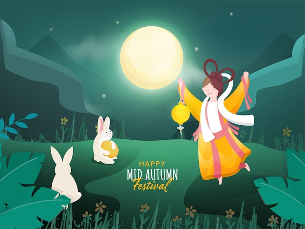 Full moon green nature background with cartoon bunnies, mooncake and chinese goddess (chang'e) holding a lantern for happy mid autumn festival.
