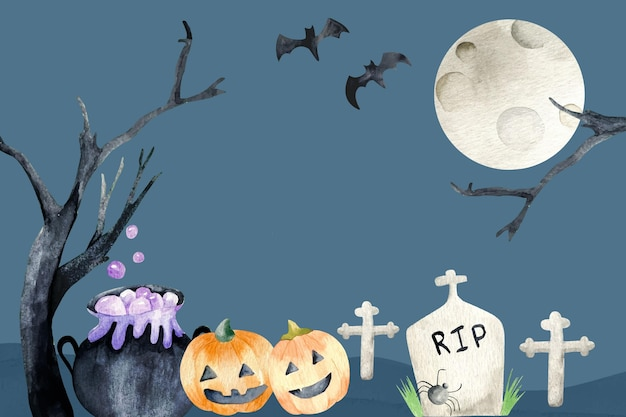 Full moon halloween watercolour background