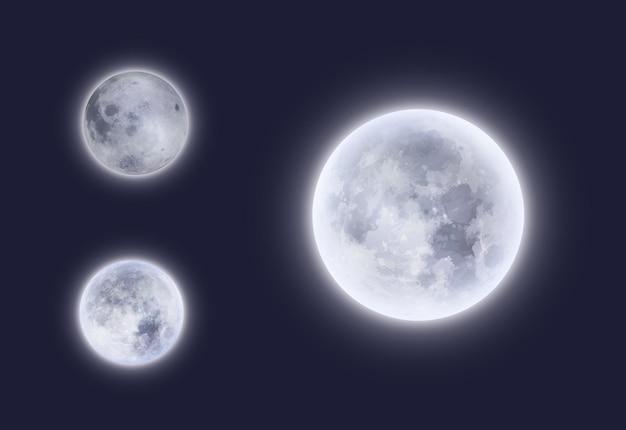 夜空の満月の3dデザイン。明るい光のハロー、宇宙および天文学の科学を備えた、月またはルナの近くと遠くの宇宙惑星衛星の現実的な詳細な白い光る表面
