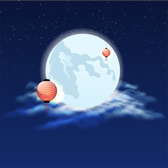 Full moon night background decorated