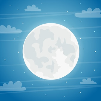 Полнолуние ночной фон. праздничная концепция хэллоуина.