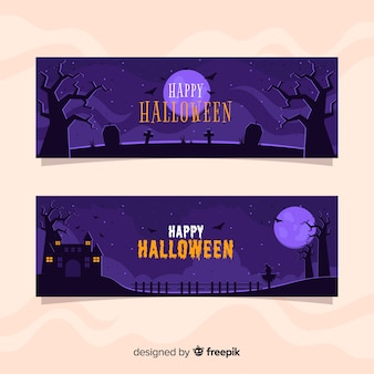 Full moon night flat halloween banners