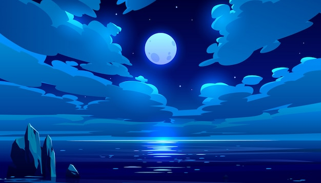 Full moon night ocean cartoon illustration