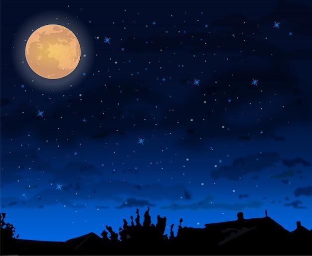 Full moon night sky halloween concept