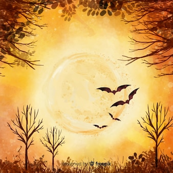 Full moon orange watercolor halloween background