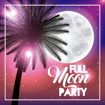 Full moon party summer palm tropical shine