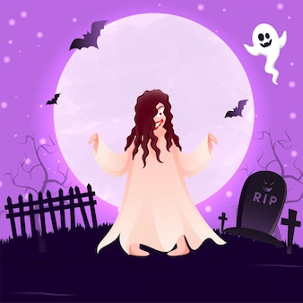 Full moon purple background with graveyard view