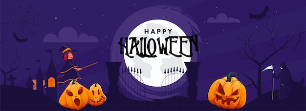 Full moon purple background with spooky pumpkins, haunted house, cartoon witch and grim reaper character for happy halloween celebration.