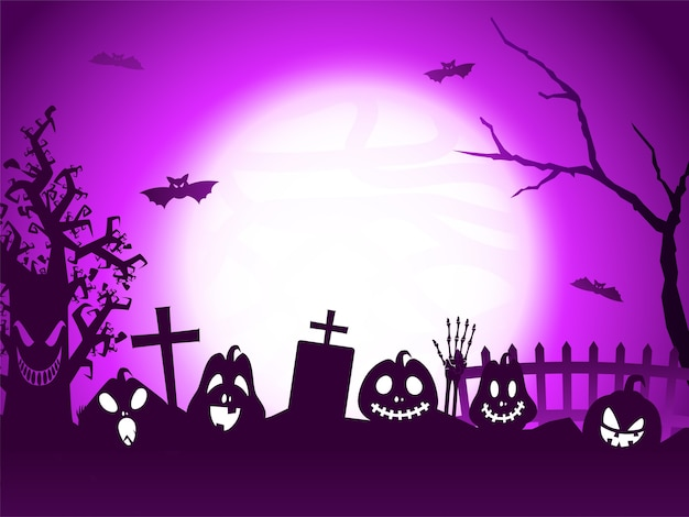 Full moon purple graveyard background with jack-o-lanterns, flying bats, skeleton hand and scary tree.