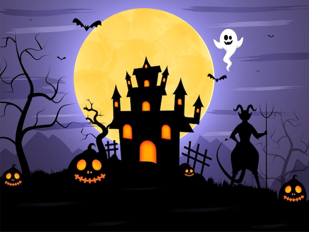 Full moon scary forest background with silhouette devil, bats flying, ghost, jack-o-lanterns and haunted house.