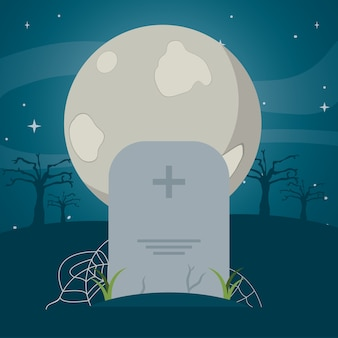 Full moon and stone tablet with spiderweb