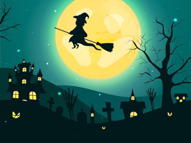 Full moon teal green background with witch flying at broom, skeleton hands, graveyard, bare trees, jack-o-lanterns and haunted houses.