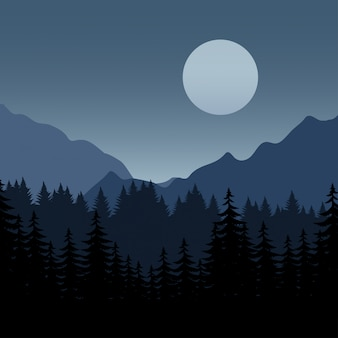 Full moon upon mountain with pine forest