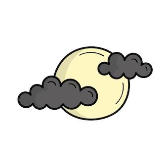 구름과 보름달입니다. 미스틱. 할로윈. 낙서 스타일의 그림