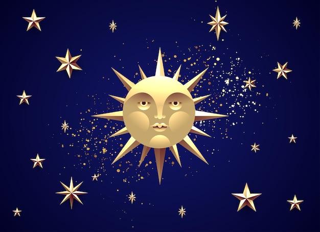 夜の星空の背景に素晴らしい黄金の顔と満月神秘的な月の概念