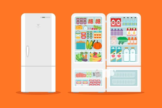 食品がいっぱい開いた冷蔵庫。冷蔵庫と果物、冷凍庫と野菜。
