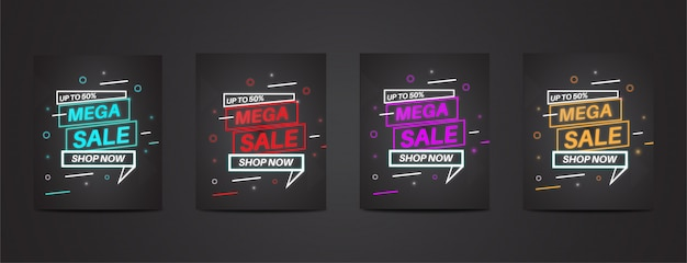 Full pack mega sale with colorful neon poster set