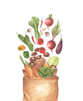 Full paper bag of different vegetables.  on white background. top view.  lay composition. watercolor illustration.