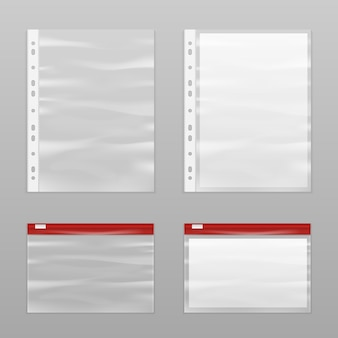 Full paper and empty plastic bags icon set