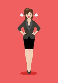 怒っているビジネス女性の完全な肖像画