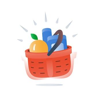 Полная красная корзина товаров, быстрая доставка продуктового магазина, специальное предложение, поставка свежих продуктов в супермаркете, покупка по выгодной цене, основной выбор товаров, значок, плоская иллюстрация