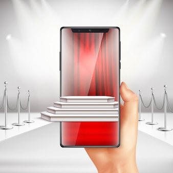 Full screen smartphone displays red carpet award ceremony preparation with augmented reality app realistic composition