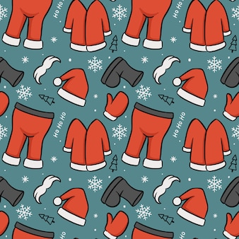 Full set santa outfit seamless pattern merry christmas